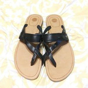 UGG Black Leather Sandles Size 9